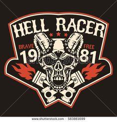 Motorcycle t-shirt graphics. Skull rider with pistons, horned demon. Racer community emblem. Biker vintage apparel print. Vector