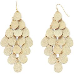 Bold Elements™ Gold-Tone Textured Teardrop Disc Chandelier Earrings ($13) ❤ liked on Polyvore featuring jewelry, earrings, tear drop jewelry, long earrings, tear drop earrings, disc earrings and goldtone jewelry