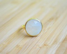 Rainbow Moonstone Round Ring Gold Vermeil by DimplesNGuns on Etsy Druzy Ring, Gemstone Rings, Rainbow Moonstone, 3, Gold Rings, Gemstones, Etsy, Jewelry, Jewlery