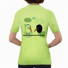 Black+and+white+birds+Women's+Green+T-Shirt