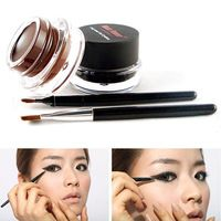 Ventas calientes colores marrón negro Eyeliner Gel + 2 unids cepillos maquillaje Sets cosmética