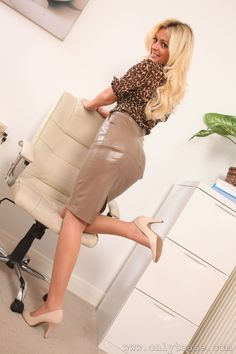 Blonde in shiny taupe leather dress #hothighheelstightdresses
