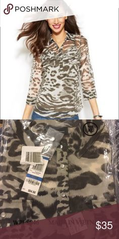 INC Leopard-Print Mesh Shirt 🌴 NWT - INC International Concepts Black/Grey Leopard-Print Mesh Shirt. Diamond buttons. 2 pockets on the chest. 100% Nylon; Camisole is 100% polyester. Still in the bag. INC International Concepts Tops