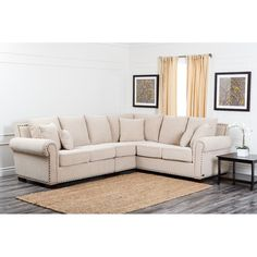 Sofas Couches Abbyson Living Sutter CI CRM Stationary Fabric Sectional Sofa with Left Arm Facing Loveseat Corner 2 Seater and Right Arm Facing Loveseat in Living Space Decor, Living Room Furniture Layout, Furniture, Sectional, Home, Abbyson Living, Living Room Sets, Fabric Sectional Sofas, Sectional Sofa Beige