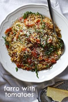 Fall's coming and comfort food is back!! A simple, delicious dish from @SmittenKitchen. One-pan farro with tomatoes is perfect for a night when you need something warm and comforting.