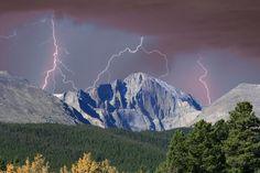 Love thunder storms! Longs Peak Lightning Storm Fine Art Photography Print Photograph ...