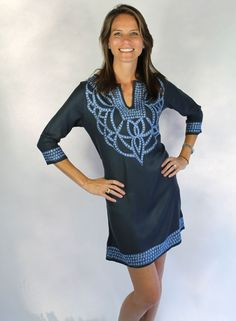 Pashmina Viscose Cortina Dress in Charcoal with Blue by Gretchen Scott Designs