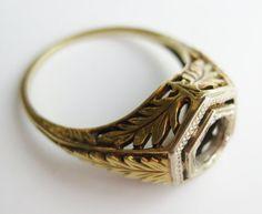 Vintage Wedding Ring Art Deco 14k Gold Filigree Engagement Ring Setting Mount 2.8g