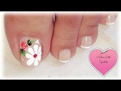 Uñas elegantes y sencillas (diseño de uñas pies) - YouTube Toe Nail Art, Toe Nails, Pedicure, Nail Art Designs, Nail Polish, Videos, Youtube, Pretty Pedicures, Art Nails