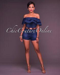Chic Couture Online - Rhoda Dark Wash Off The Shoulder Ruffle Denim Romper,  (http://www.chiccoutureonline.com/rhoda-dark-wash-off-the-shoulder-ruffle-denim-romper/)