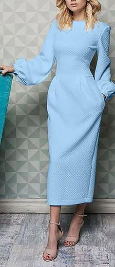 Elegant Plain Lantern Sleeve Round Neck Maxi Dress Source by - Elegant Dresses, Cute Dresses, Beautiful Dresses, Dresses For Work, Dresses With Sleeves, Classy Dress, Classy Outfits, Hijab Fashion, Fashion Dresses