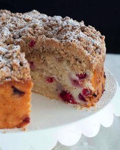 Cranberry Almonds Streusel Cake. The cranberries makes this cake so moist and the crumb topping is amazing.
