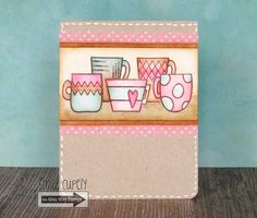 Video by Emily Cupely - TAWS, Breakfast Club, card making, cards, clear stamps, watercolor, mug, tea, coffee