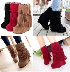 Womens Fringe Tassel Pull On Fur Inside Wedge Platform Ankle Boots Fashion Shoes Moccasin Ankle Boots, Platform Ankle Boots, Wedge Boots, Shoe Boots, Boot Heels, Calf Boots, Ugg Boots, Fashion Shoes, Fashion Outfits