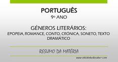 Português 9º | Géneros literários: epopeia, romance, conto, crónica, soneto, texto dramático