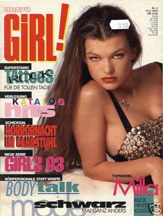 Milla Jovovich - Bravo Girl magazine a German magazine, October 1993 a VERY young Milla Jovovich in a Dolce&Gabbana metal stud bra top Milla Jovovich, Gorgeous Eyes, Beautiful Women, Studded Bra, 8bit Art, Girls Magazine, Funny Tattoos, Cover Model, Wedding Humor