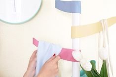 How to decorate a coat rack with PintyPlus chalk paint spray - Pintyplus  Image shows mustard handle Coat Paint, Paint Primer, Spray Chalk, Pink Petals, Coat Hanger, Image Shows, Pastel Colors, Diy, Mustard