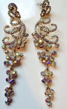Ab Cluster Crystal Chandelier Earrings Bollywood Bling Costume ...