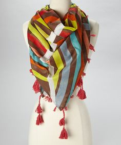 Look what I found on #zulily! Taupe & Orange Stripe Scarf by The Accessory Collective #zulilyfinds