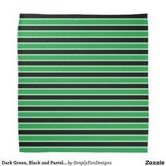 Dark Green, Black and Pastel Green Stripes Bandana
