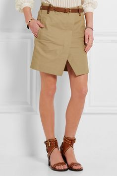 Beige cotton and linen-blend  Concealed asymmetric zip fastening through front 82% cotton, 18% linen; belt: 100% leather (Calf); lining: 100% cotton Dry clean