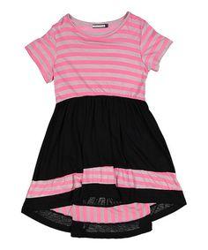 Look at this #zulilyfind! Pink & Black Stripe Dress - Girls #zulilyfinds
