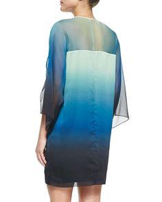 Kimono-Sleeve Chiffon Caftan, Atlantic/Multicolor