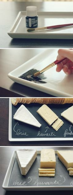 The best DIY projects & DIY ideas and tutorials: sewing, paper craft, DIY. Diy Crafts Ideas 52 DIY Chalkboard Paint Ideas for Furniture and Decor -Read Cheese Platters, Serving Platters, Cheese Table, Party Platters, Serving Board, Diy Tableau Noir, Pebeo Porcelaine 150, Fun Crafts, Diy And Crafts