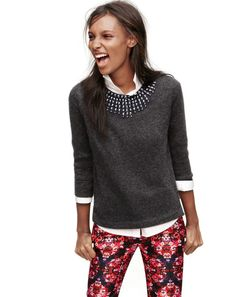 DEC '13 Style Guide: J.Crew jeweled starburst sweater, stretch perfect shirt and the Collection Café Capri in berry bouquet.