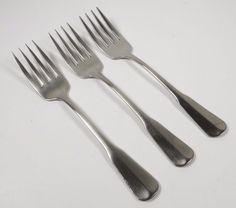 3 Oneida Colonial Artistry Distinction Deluxe Stainless Salad Fork Retired Satin #Oneida
