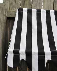 """Country French Cafe Awning Window Valance in Black and White Stripe , 38"""" width, Multiple widths available"""