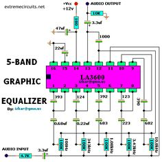 Description This complete high quality, low noise 5-BAND GRAPHIC EQUALIZER circuit is based around Monolithic Linear integrated circuit LA3600 manufactured by SANYO. This circuit is very easy to build and has good Quality. You can use it with Portable component stereos, tape-recorders, radio-cassette recorders, car stereos etc… It is On-chip one operational amplifier. 5-band graphicRead More