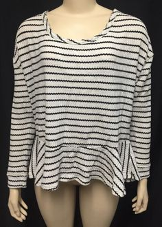 We The Free People Top Tunic L Women's Black White Stripe Ruffle L/S #WeTheFreeFreePeople #Tunic #Casual