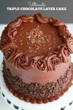 Ultimate Triple Chocolate Layer Cake with the easiest milk chocolate frosting covered with mini chocolate chips. Makes the best fudgy birthday dessert.