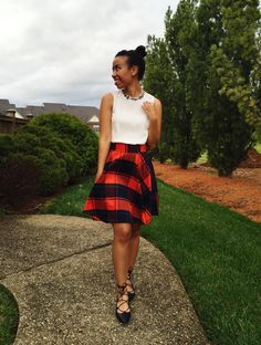 bejeweled high neck blouse + red plaid skirt + lace up flats #holidayoutfit @sheinside