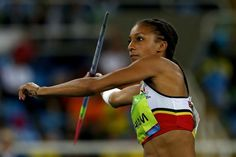 RIO DE JANEIRO, BRAZIL - AUGUST 13: Nafissatou Thiam of Belgium competes in the Women's Heptathlon Javelin Throw on Day 8 of the Rio 2016 Olympic Games at the Olympic Stadium on August 13, 2016 in Rio de Janeiro, Brazil. (Photo by Ian Walton/Getty Images) — in Rio de Janeiro, Brazil.