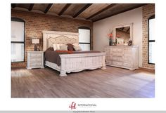 """Bella"" Collection by International Furniture Direct 1024 $2469 Set includes Queen bedframe, dresser, mirror, and nightstand. Solid+wood+antique+rustic+ifd+furniture"