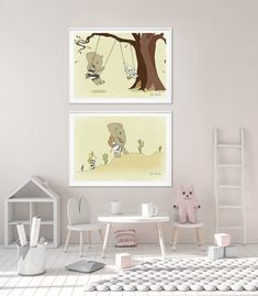 Adventurous and game set of 2 lovely wall prints for nursery and kids room