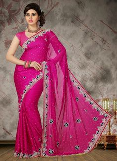 """""""Upto 50% Offers"""".We Unfurl Our The Intricacy And Exclusivity Of Our Creations Highlighted With This Stunning #Magenta #Chiffon