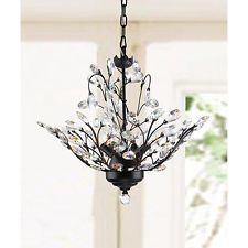 Holly 4 Light Antique Copper Crystal Leaves Chandelier $143