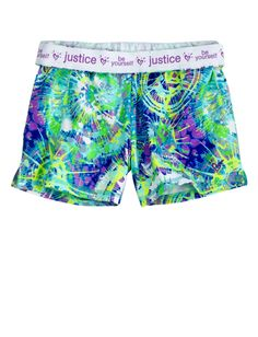 Splatter Spin Art Printed Short | Active | Shorts | Shop at Justice! Would wear to gymnastic or dance...! Too cute! I want!  ! Love it!