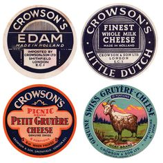 "Vintage Labels Cheese labels - Design Observer rounded up a great collection of vintage cheese labels from around the world. Here are a few ""selects"" from the group. You can see the complete collection here . Edam Cheese, Fromage Cheese, Cheese Packaging, Food Packaging, Vintage Packaging, Vintage Labels, Cheese Design, Design Observer, Patterns"