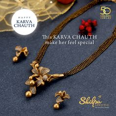 Gold Jewelry May her Sindoor testify her prayers, for your long life. Her Mangalsutra reminds you of the promises and proves the depth of your love. Celebrate this Karwa Chauth with Shilpa Lifestyle Gold Bangles Design, Gold Earrings Designs, Gold Jewellery Design, Handmade Jewellery, Necklace Designs, Gold Mangalsutra Designs, Gold Jewelry Simple, Beaded Jewelry, Bead Jewellery