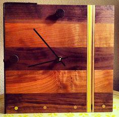 Table Clock. Walnut, Maple & Steel. Quartz time components. Wood Steel, Quartz, Clock, Wall, Home Decor, Clock Table, Watch, Walls, Interior Design