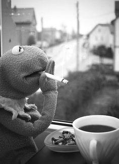Kermit with coffe n cigarre