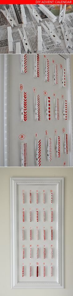 Christmas Decor: DIY (simple) advent calendar using wooden clothes pins, paint, and a discount frame. More info here. Really simple. Could also be used to hang holiday cards, and later as a calendar that holds important dates/times.
