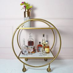 Round Brass and Marble Drinks Trolley - available from MiaFleur