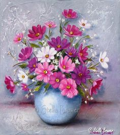Stella Bruwer blue pot of pinks and purple cosmos Watercolor Flowers, Watercolor Paintings, Cosmos Flowers, Container Flowers, Arte Floral, Christmas Paintings, Pottery Painting, Flower Wallpaper, Art Oil