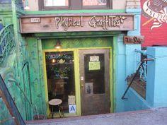 Shopfront Stool in front of Physical GraffiTea - 96 St. Marks Pl, New York, NY - Photo: Sarah Christensen