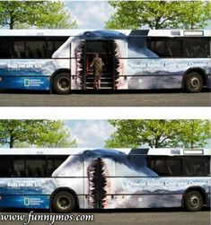 Enter this bus through the mouth of Jaws.